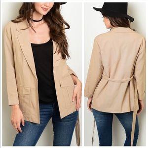Jackets & Blazers - Taupe Tie Waist Blazer Jacket